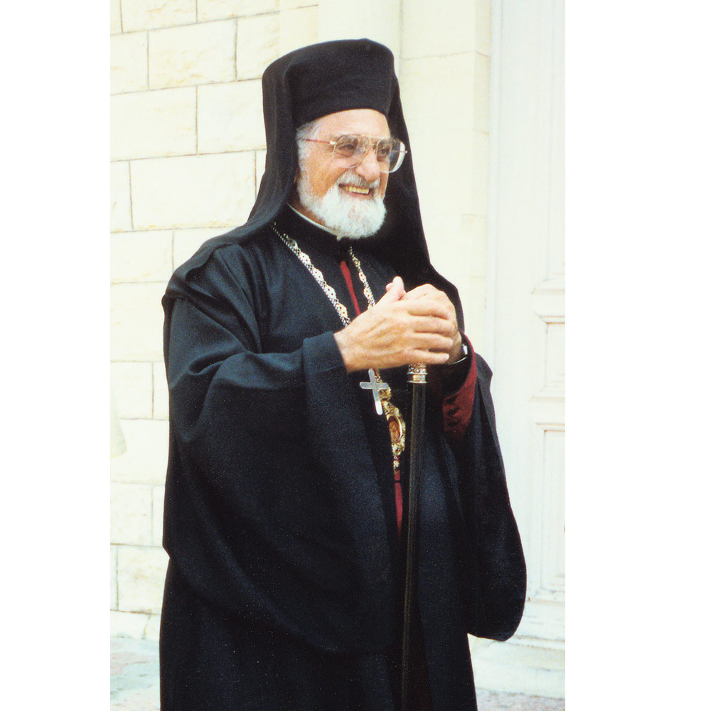 Archbishop Raya in front of Haifa's cathedral