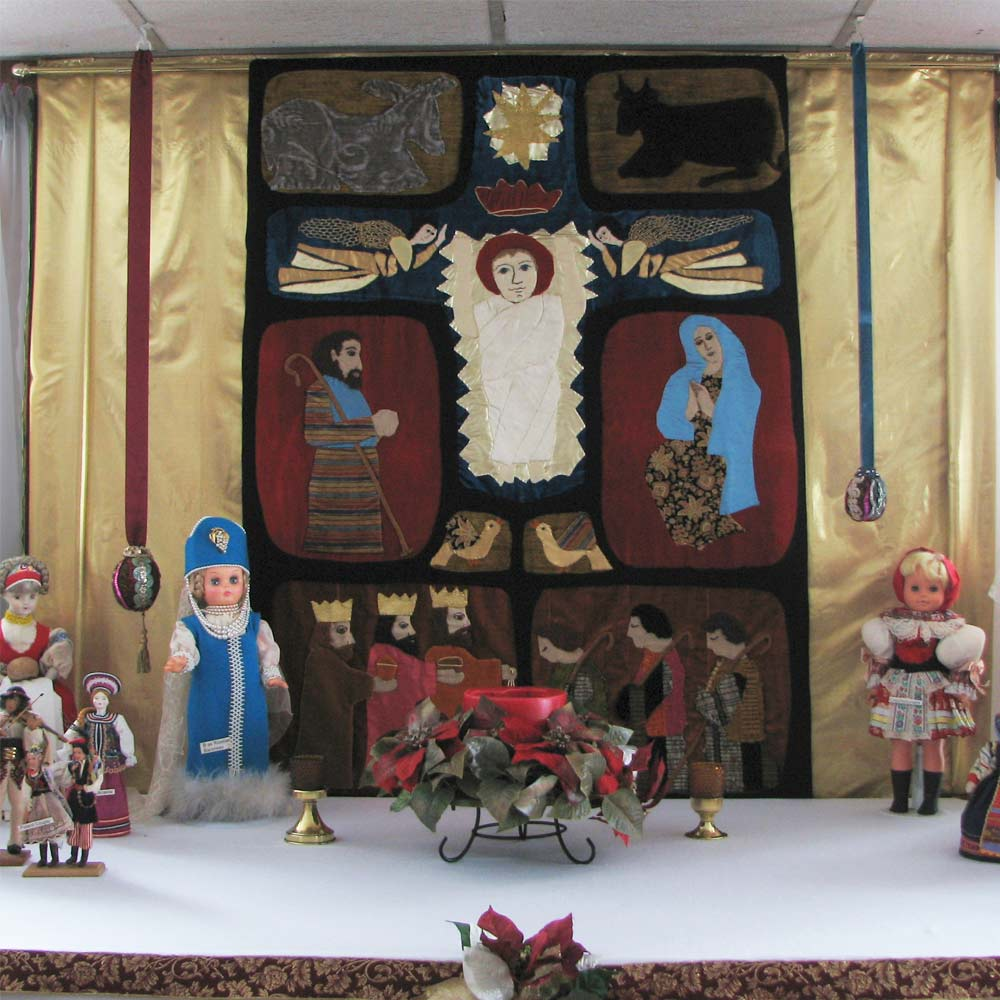 Christmas display in Madonna House dining room