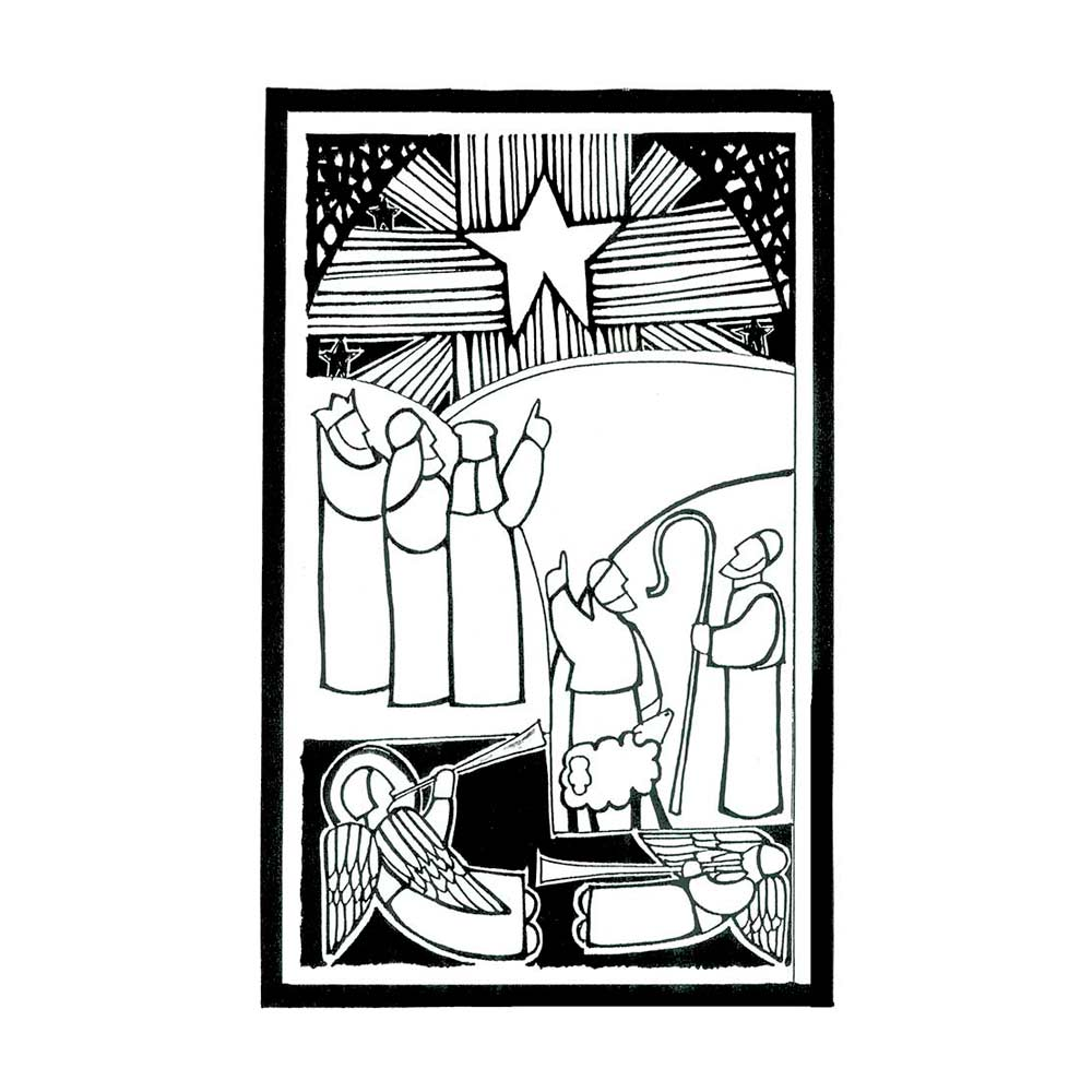 drawing of the Magi, shepherds,an angel, the star by Patti Birdsong