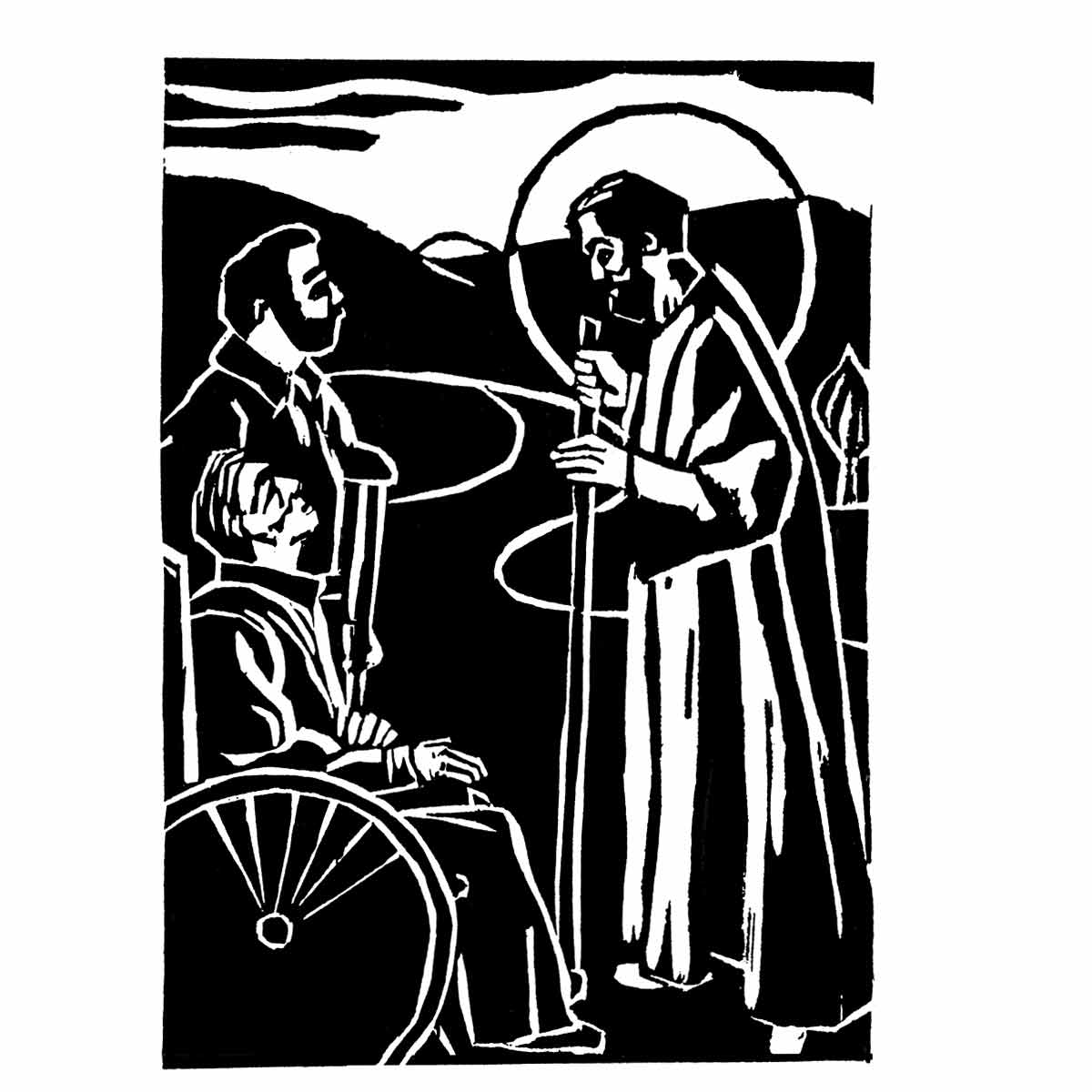 block print by Donna Surprenant of Christ meeting two disciples—one on crutches and one in a wheelchair— on the road